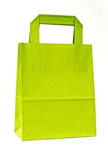 Dıştan Kulplu Açık Yeşil Kağıt Çanta (50 Adetlik Kutu)