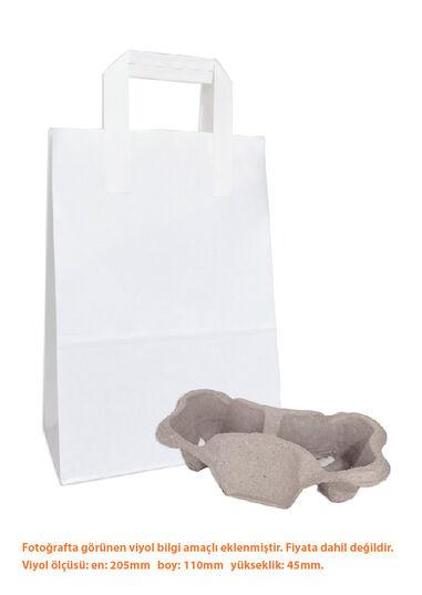 Dıştan Kulplu Beyaz Kağıt Çanta No.2 (500 Adetlik Paket)