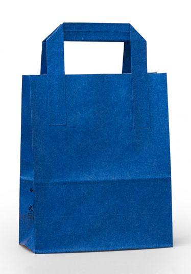 Dıştan Kulplu Mavi Kağıt Çanta (500 Adetlik Kutu)