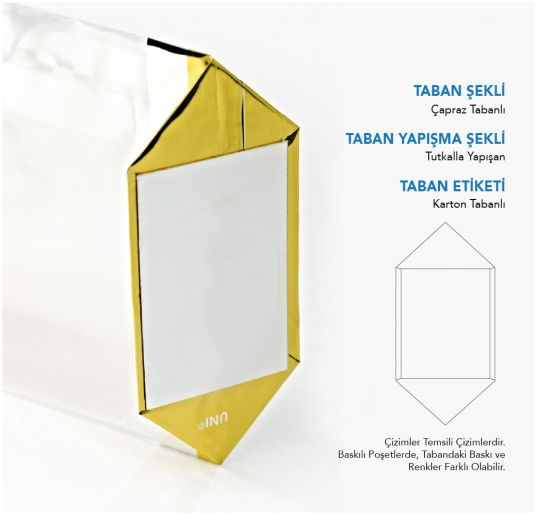 Küçük Boy Puantiye Turuncu Pencere Şeffaf Poşet (100 Adetlik Kutu)