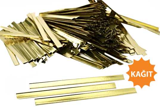 Parlak Altın Kapama Klipsi (6 cm - Kağıt)