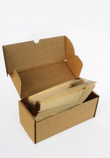 Kalın Krem Çizgili Küçük Boy Şeffaf Poşet (100 Adetlik Kutu)