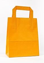 Dıştan Kulplu Turuncu Kağıt Çanta (500 Adetlik Kutu) - Thumbnail