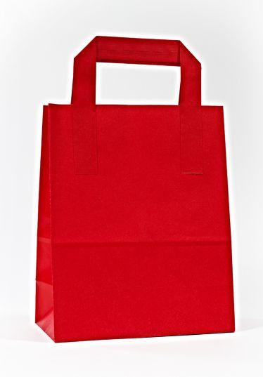 Dıştan Kulplu Kırmızı Kağıt Çanta (500 Adetlik Kutu)