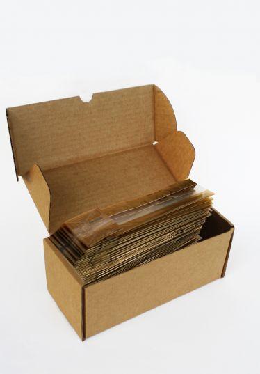 Kalın Altın Çizgili Küçük Şeffaf Poşet (100 Adetlik Kutu)