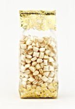 Metalize Altın Çiçek Küçük Şeffaf Poşet (100 Adetlik Kutu) - Thumbnail