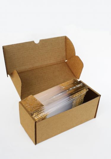 Metalize Altın Çiçek Küçük Şeffaf Poşet (100 Adetlik Kutu)