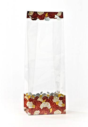 Metalize Altın Gül Bahçesi Küçük Şeffaf Poşet (500 Adetlik Kutu)