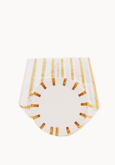 Mini Daire Metalize Altın Çizgili Şeffaf Poşet (100 Adetlik Kutu)