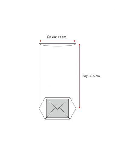 Kırmızı Naturel Pencereli Büyük Şeffaf Poşet (100 Adetlik Kutu)