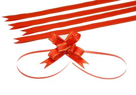 Kırmızı Altın Şerit Orta Boy Pratik Kurdele (100 Adetlik Paket)