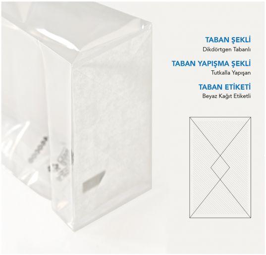 Baskısız Orta Şeffaf Poşet-BEYAZ TABAN ETİKETLİ (500 Adetlik Kutu)