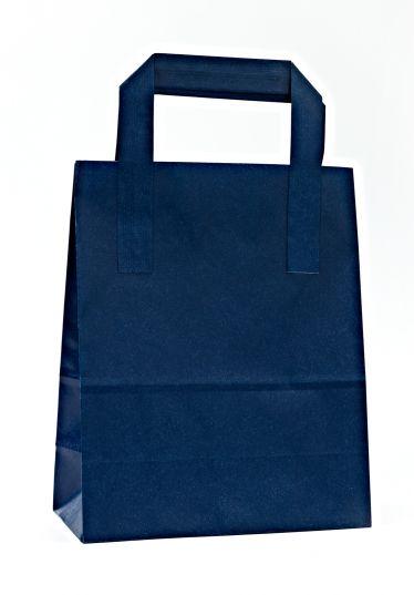 Dıştan Kulplu Lacivert Kağıt Çanta (50 Adetlik Paket)