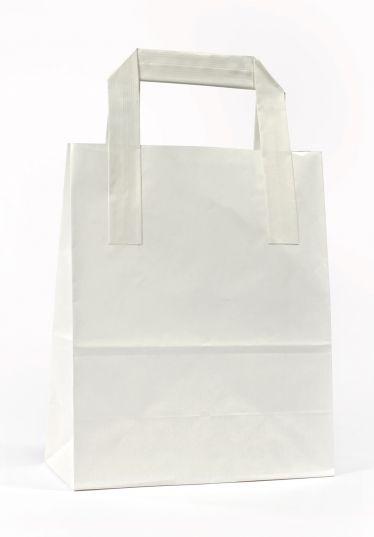 Dıştan Kulplu Beyaz Kağıt Çanta (50 Adetlik Paket)