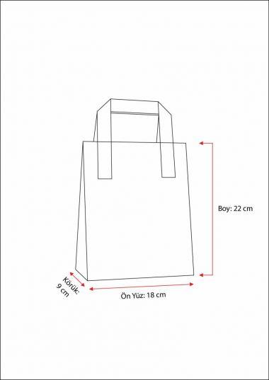 Dıştan Kulplu Turkuaz Kağıt Çanta (50 Adetlik Kutu)
