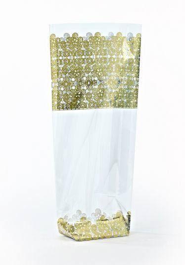Altın Dantel Şeffaf Poşet (100 Adetlik Kutu)