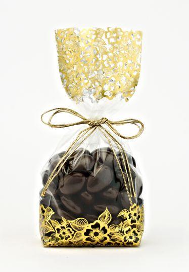 Metalize Altın Çiçek Küçük Şeffaf Poşet (500 Adetlik Kutu)