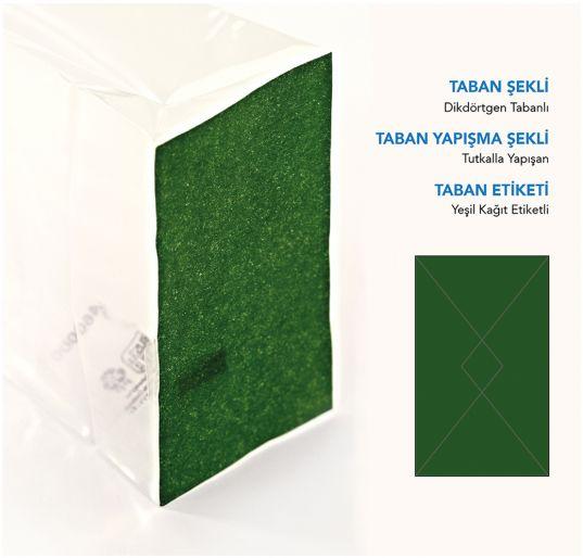 Baskısız Küçük Şeffaf Poşet-YEŞİL TABAN ETİKETLİ (500 Adetlik Kutu)