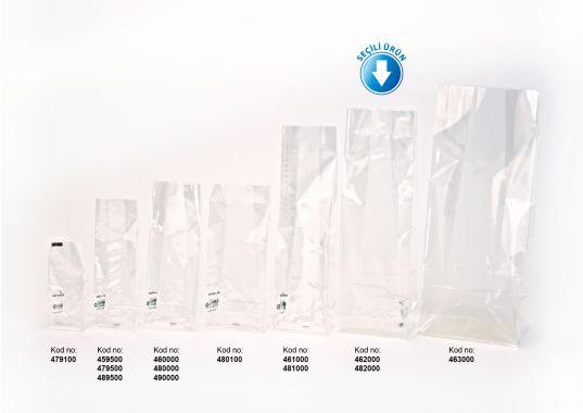 Baskısız Büyük Şeffaf Poşet-BEYAZ TABAN ETİKETLİ (500 Adetlik Kutu)